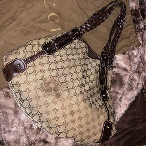 Gucci Pelham Brown Canvas Hobo Bag